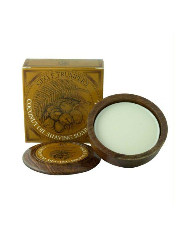 george f. trumper coconut oil shaving soap box wooden bowl