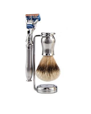 Luxury Shaving Set, 3 pieces, Fusion™, chrom plated, silver tip