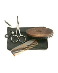 esbjerg vienna beard care set scissors comb brush leather puch