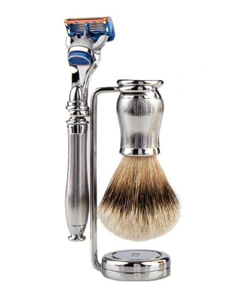 shaving set three pieces chrome plated gillette fusion shaving brush