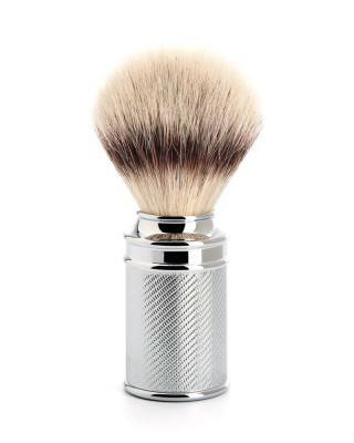 shaving brush silvertip fibre chrome plated