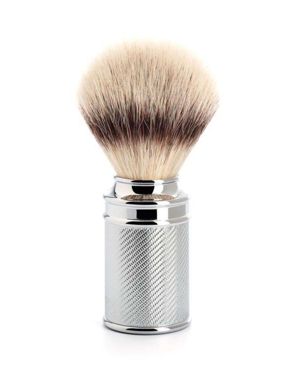 shaving brush silvertip fibre chrome plated