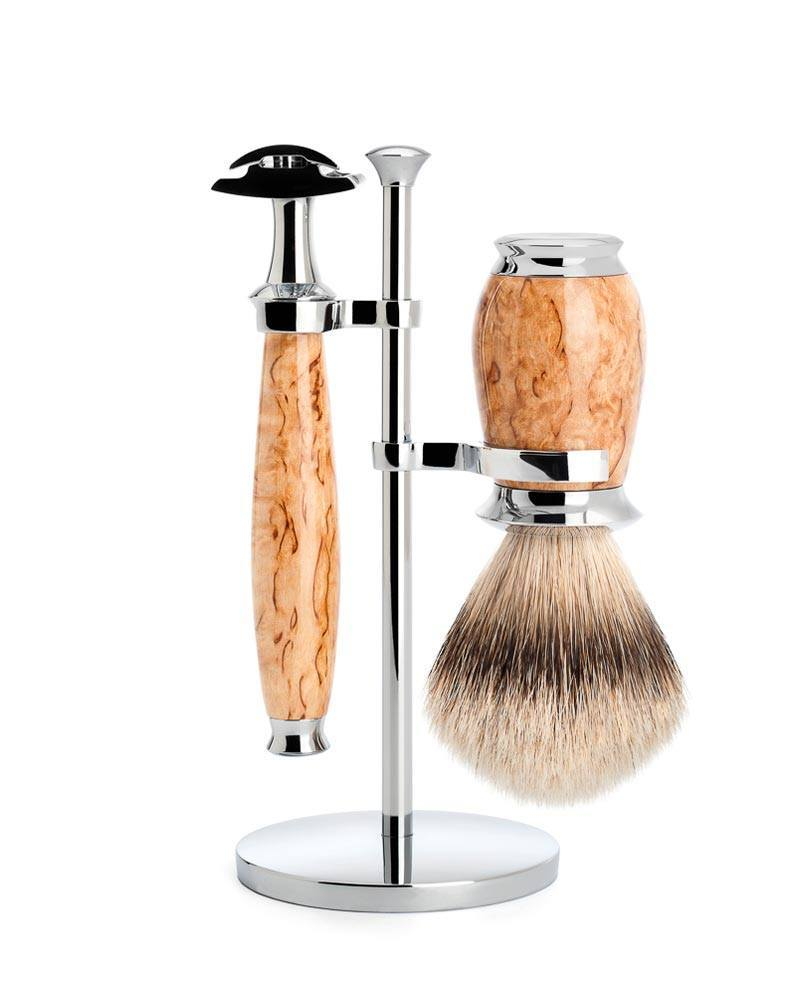 Mühle - Shaving set, PURIST, silvertip badger, with safety razor, handle  material karelian masur birch