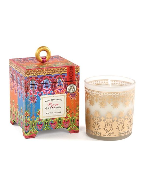 michel design works rose geranium soy wax candle