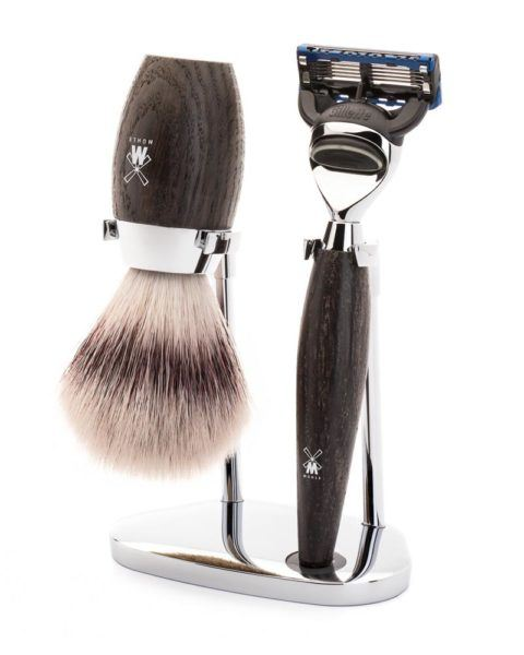 muehle shaving set silvertip fibre safety razor shaving brush handle black