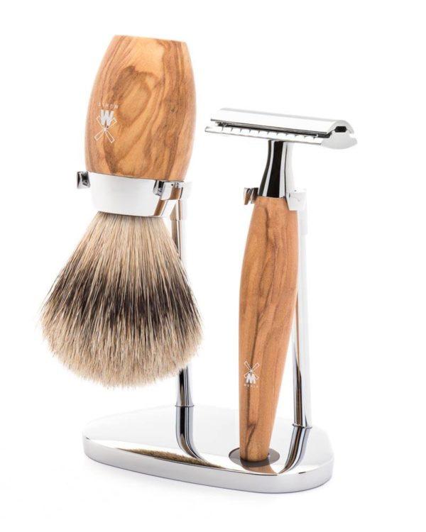 muehle shaving set silvertip badger safety razor woode handle olivewood