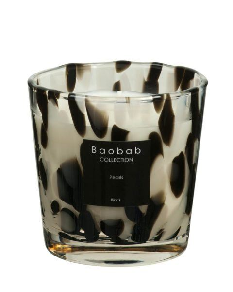 baobab collection pearls black candle glass