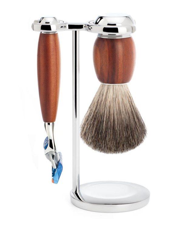shaving set pure badger hair gillette fusion handle material plum wood