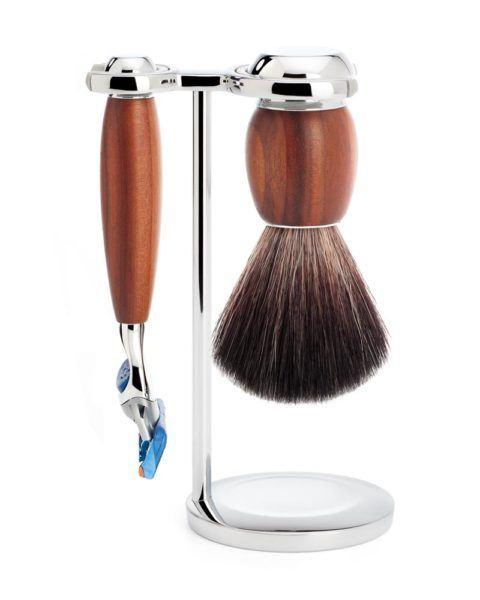 shaving set black fibre gillette fusion handle material plum wood