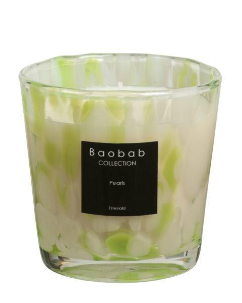 baobab kollektion pearls emerald kerze glas