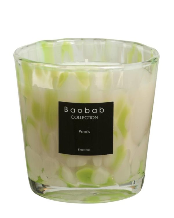baobab kollektion pearls emerald candle glass