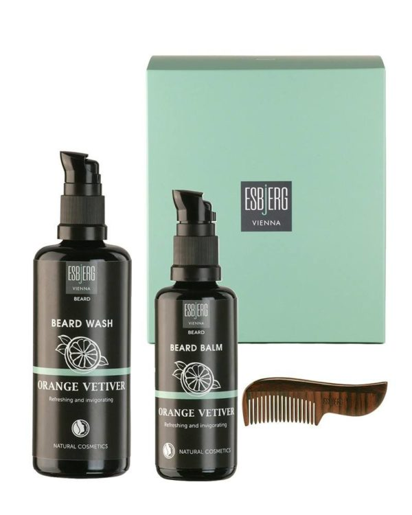 esbjerg vienna berad care set bottles box beard wash beard balm orange vetiver comb gift