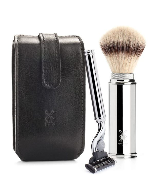 muehle small leatherbag cowhide gillette mach3 razor travel brush