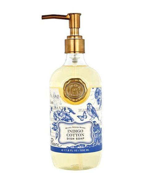 michel design works indigo cotton dish soap bottle 530ml