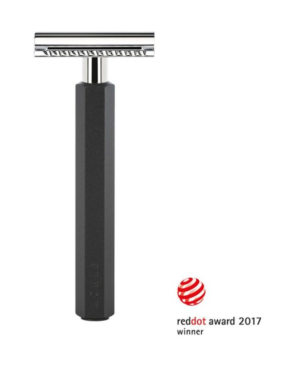 muehle hexagon safety razor designed by mark braun anodised aluminum black handle