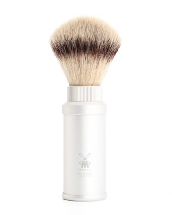 mühle travel shaving brush with silvertip fibre handle material